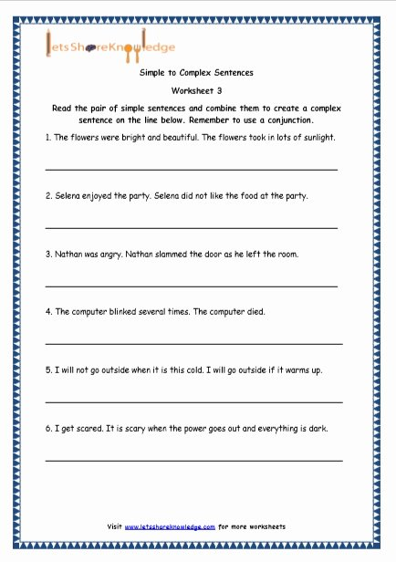 Simple Compound Complex Sentences Worksheet Awesome Grade 4 English Resources Printable Worksheets topic