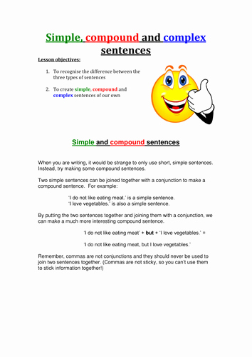 Simple Compound Complex Sentences Worksheet Beautiful Simple Pound and Plex Sentences by Rdigsworth
