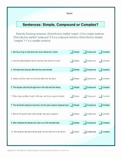 Simple Compound Complex Sentences Worksheet Best Of Simple Pound and Plex Sentences Worksheet High