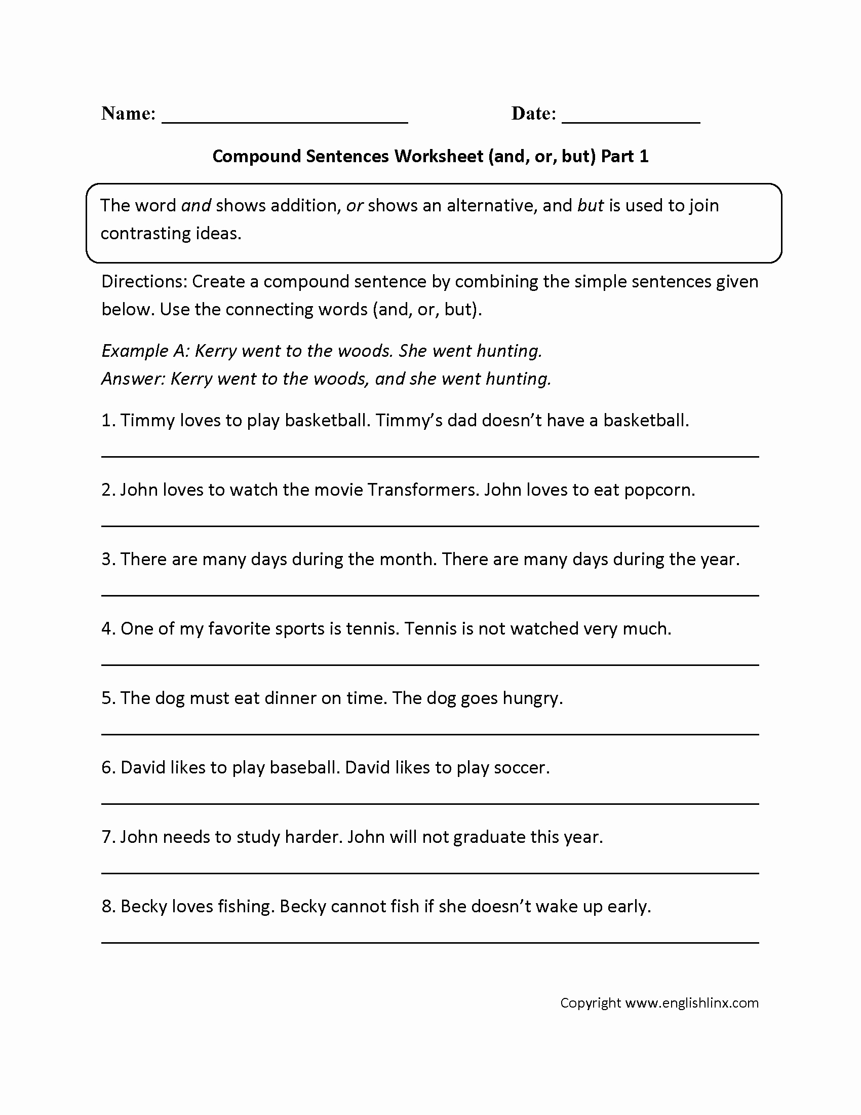 Simple Compound Complex Sentences Worksheet Lovely and or and but Pound Sentences Worksheet