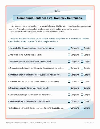 Simple Compound Complex Sentences Worksheet Lovely Pound Sentences Vs Plex Sentences Worksheet