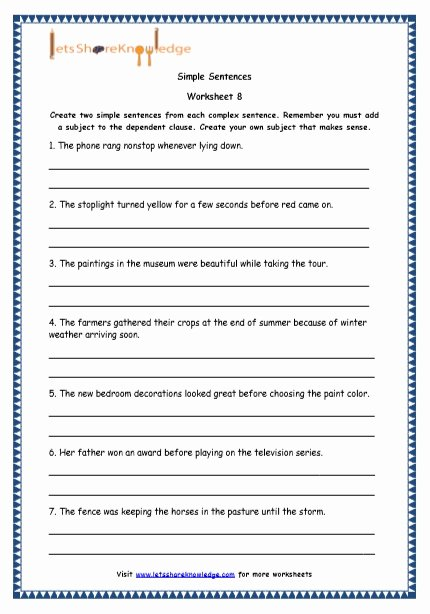Simple Compound Complex Sentences Worksheet Unique Grade 4 English Resources Printable Worksheets topic