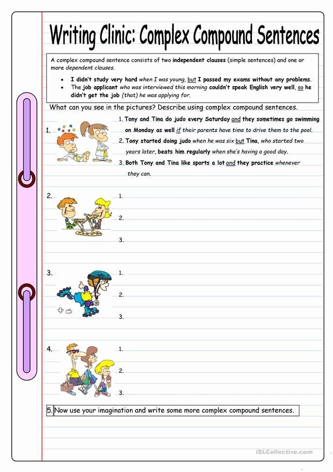 Simple Compound Complex Sentences Worksheet Unique Writing Clinic Plex Pound Sentences Worksheet
