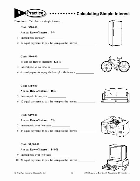 Simple Interest Problems Worksheet Elegant Calculating Simple Interest Worksheet for 6th 7th Grade