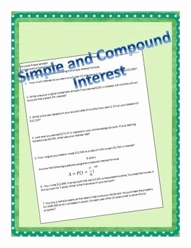 Simple Interest Problems Worksheet Inspirational Simple and Pound Interest School Stuff