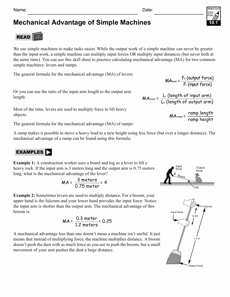 Simple Machines Worksheet Answers Awesome Worksheet Mechanical Advantage Worksheet Grass Fedjp