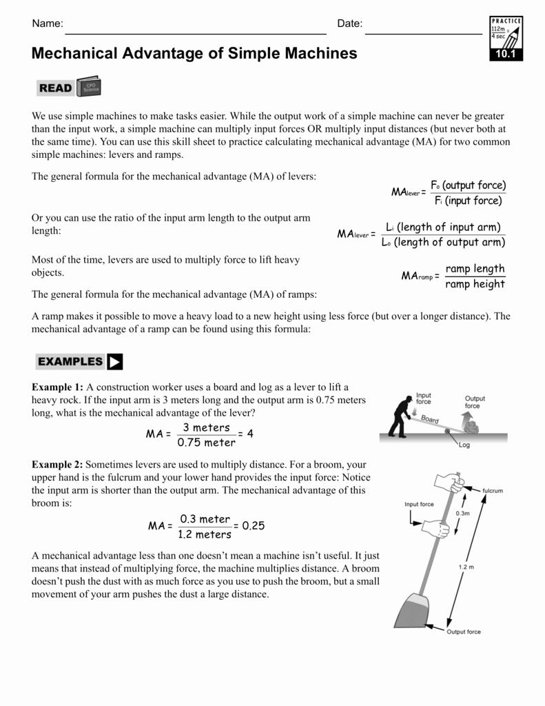 Simple Machines Worksheet Answers Awesome Worksheet Mechanical Advantage Worksheet Grass Fedjp
