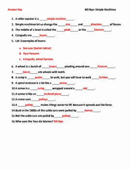Simple Machines Worksheet Answers Best Of Video Worksheet Movie Guide for Bill Nye Simple