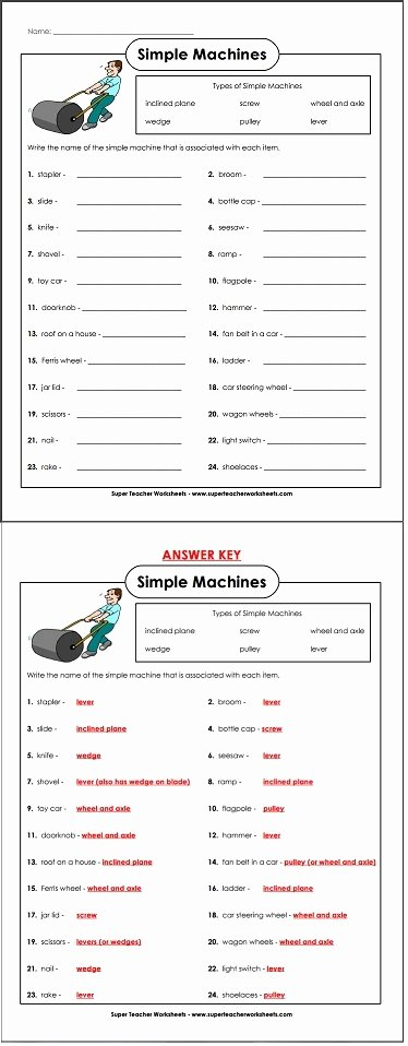 Simple Machines Worksheet Answers Fresh Everyday Simple Machines