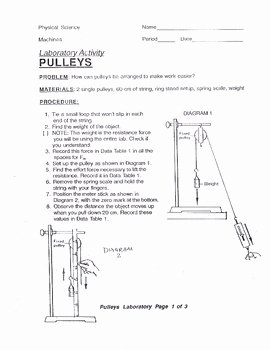 Simple Machines Worksheet Answers Lovely Pulley Lab with Answer Key Simple Machines force by