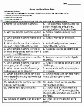 Simple Machines Worksheet Answers Luxury Simple Machines Study Guide by Please Feed the Animals