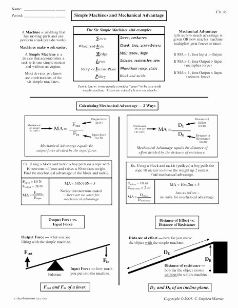 Simple Machines Worksheet Answers New Simple Machines and Mechanical Advantage Worksheet for 7th