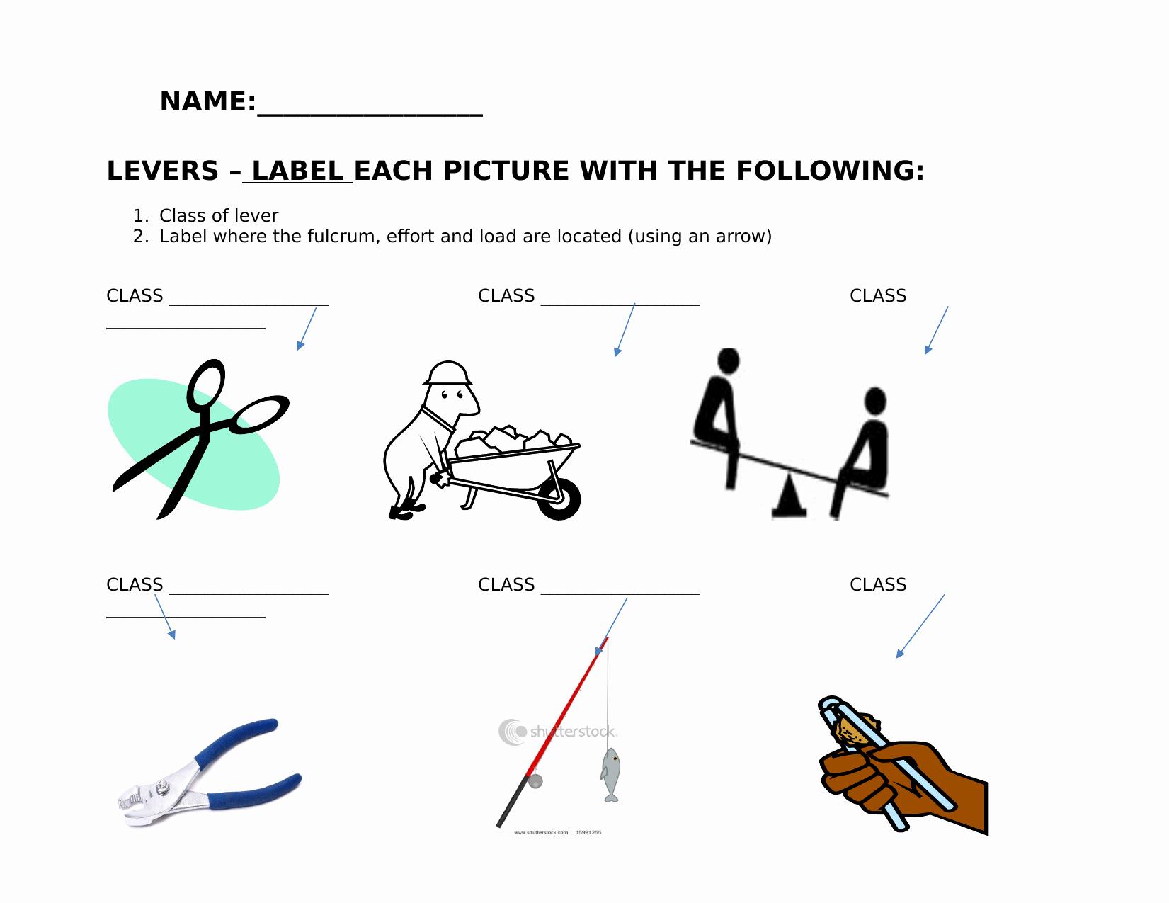 Simple Machines Worksheet Middle School Elegant Levers Worksheet Resource Preview