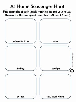 Simple Machines Worksheet Middle School Inspirational Simple Machines at Home Scavenger Hunt Worksheet by Fifth