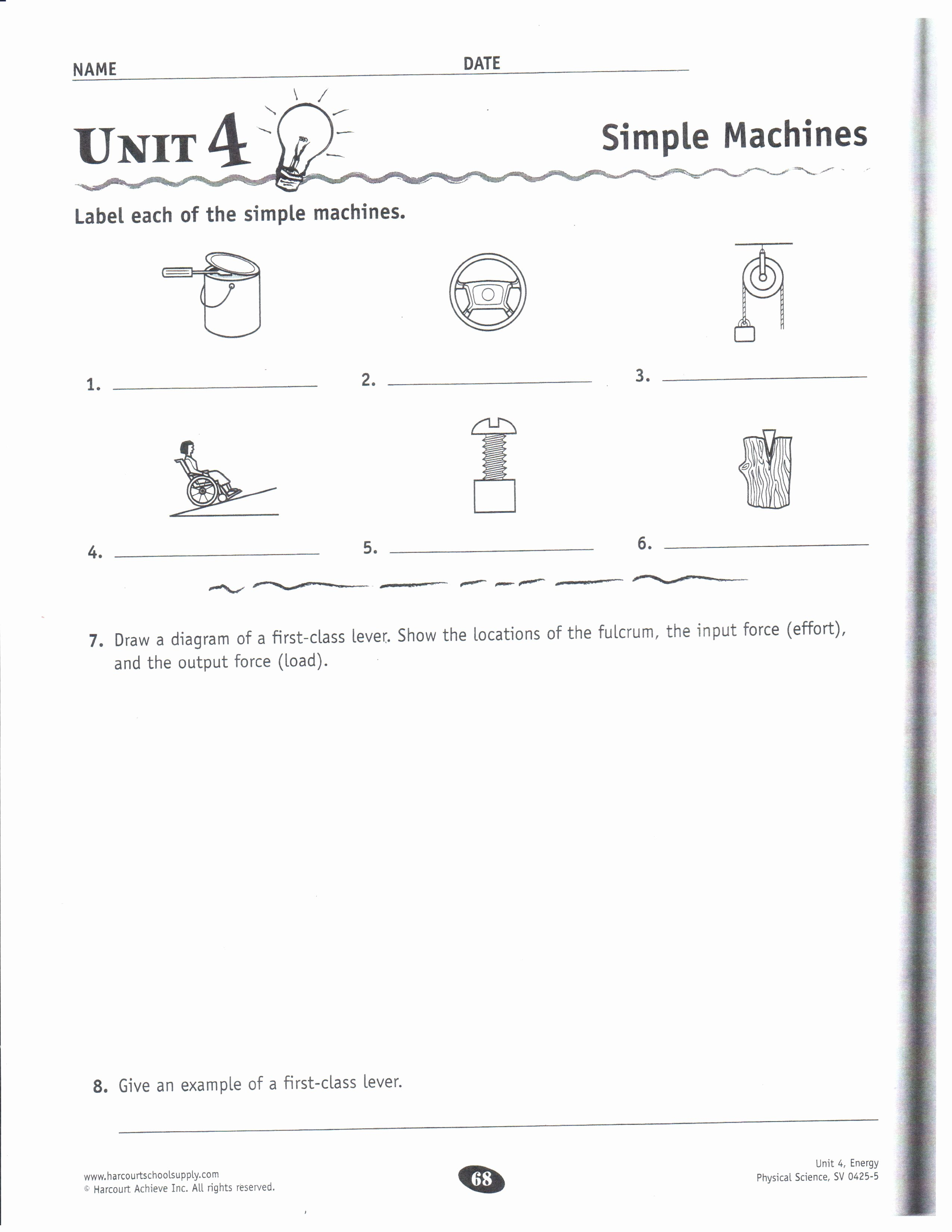 Simple Machines Worksheet Middle School Unique Physical Science Dec 10 14