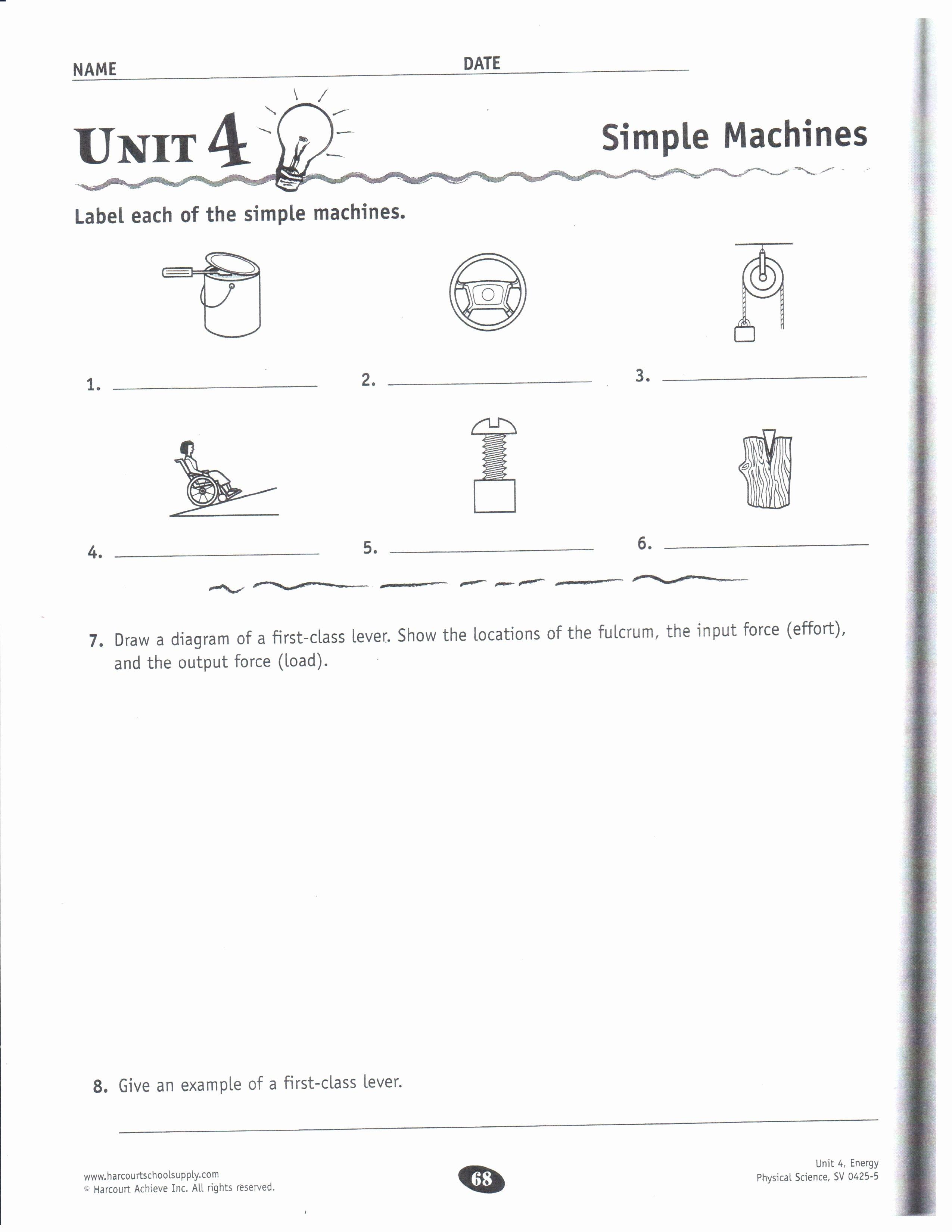 Simple Machines Worksheet Middle School Unique Physical Science Dec 10 14