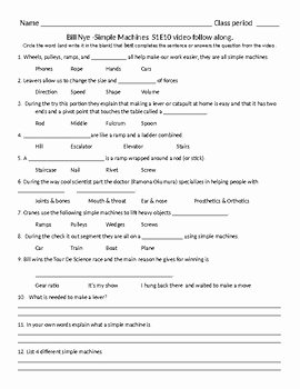 Simple Machines Worksheet Pdf Awesome Bill Nye S1e10 Simple Machines Video Sheet with Answer Key
