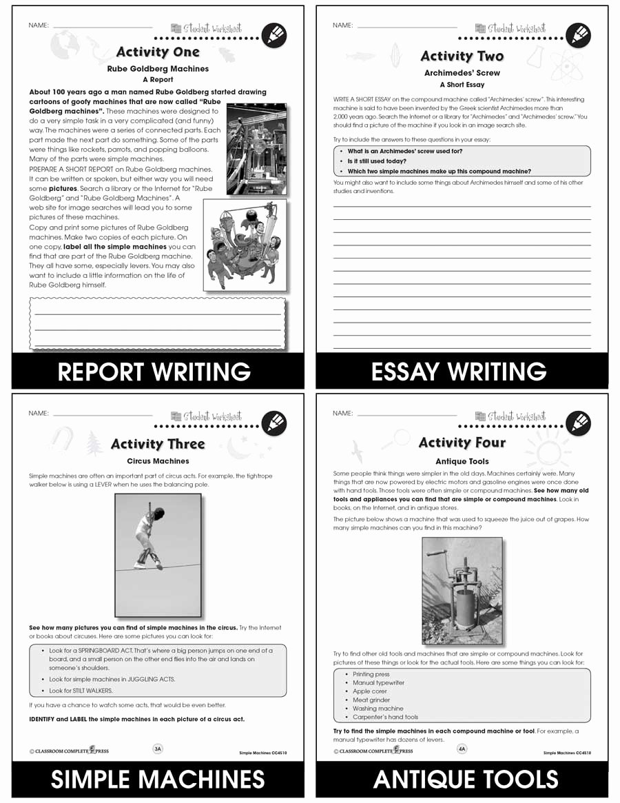 Simple Machines Worksheet Pdf Beautiful Simple Machines Bonus Worksheets Grades 5 to 8 Ebook