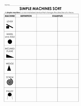 Simple Machines Worksheet Pdf Fresh Simple Machines sort Cut and Paste Examples Definitions