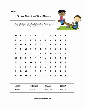 Simple Machines Worksheet Pdf Inspirational Simple Machines Word Search Grades 1 3 by Big Ideas