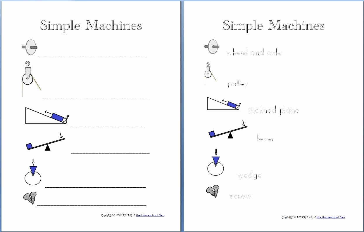 Simple Machines Worksheet Pdf Lovely Simple Machine Packet About 30 Pages Homeschool Den