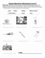 Simple Machines Worksheet Pdf New Simple Machines Worksheet Level Ii 3rd 4th Grade