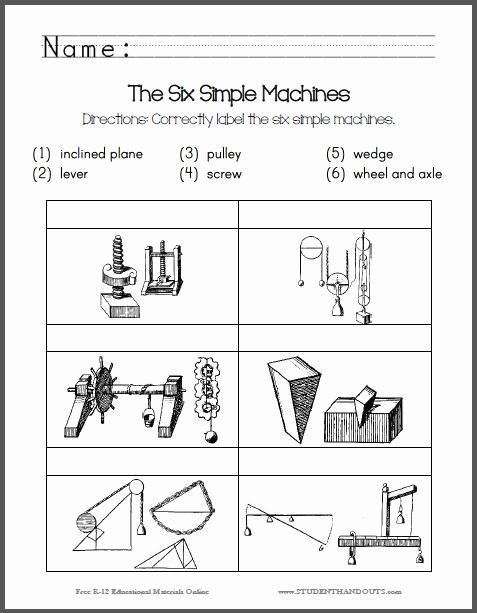 Simple Machines Worksheet Pdf Unique Here to Print Here for the Answer Key