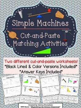 Simple Machines Worksheet Pdf Unique Simple Machines Cut and Paste Matching Activities