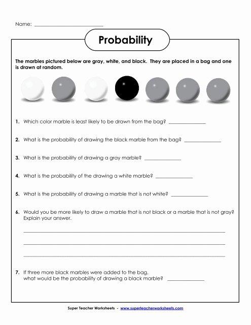 Simple Probability Worksheet Pdf Elegant Probability Marbles Basic Super Teacher Worksheets