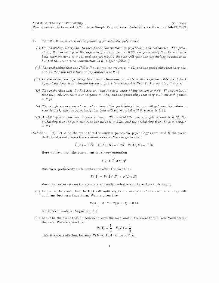 Simple Probability Worksheet Pdf Lovely Worksheet Three Simple Propositions Probability as A