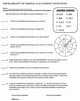Simple Probability Worksheet Pdf New Probability Simple and Pound events Self Checking by