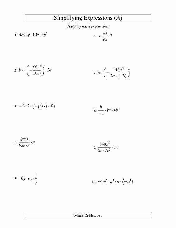 Simplify Exponential Expressions Worksheet Unique Simplifying Expressions Worksheet