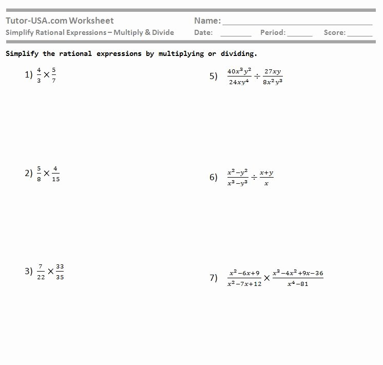 Simplify Rational Expressions Worksheet Best Of Worksheet Simplify Rational Expressions Multiply and