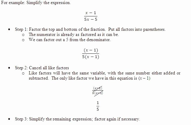 Simplify Rational Expressions Worksheet Fresh Simplifying Rational Expressions Academic Support Center