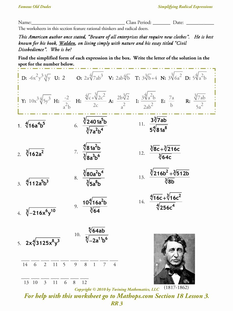 Simplify Square Roots Worksheet Fresh Rr 3 Simplifying Radical Expressions Mathops