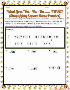 Simplify Square Roots Worksheet Fresh Simplifying Square Roots Halloween Riddle Worksheet by