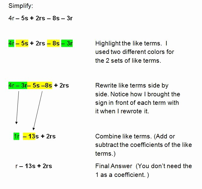 Simplifying Algebraic Expressions Worksheet Answers Best Of Simplifying Algebraic Expressions