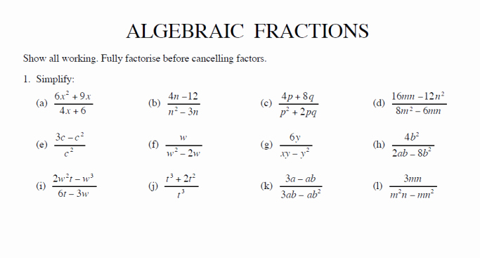 Simplifying Algebraic Expressions Worksheet Answers Fresh Simplify Algebraic Fractions Worksheet and Answers for Ks3