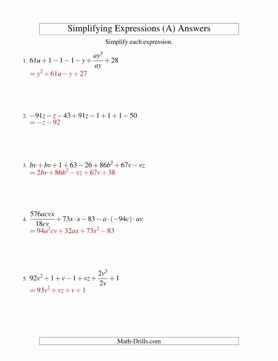 Simplifying Algebraic Expressions Worksheet Answers Fresh Simplifying Algebraic Expressions Challenge A