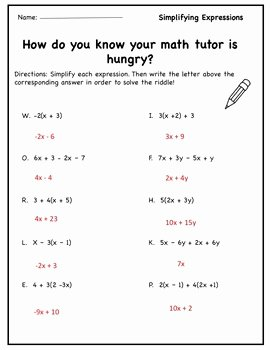 Simplifying Algebraic Expressions Worksheet Answers Luxury Pre Algebra Worksheet Simplifying Expressions Distribute