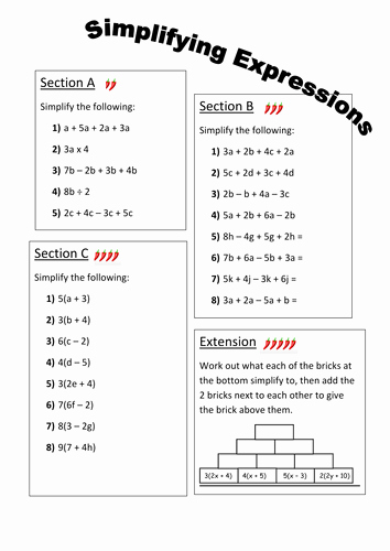 Simplifying Algebraic Expressions Worksheet Answers Luxury Simplifying Expressions Differentiated Worksheet by