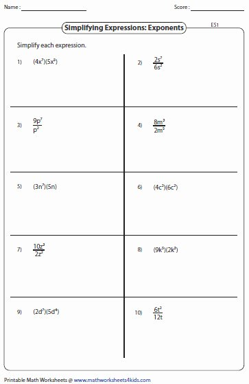 Simplifying Algebraic Expressions Worksheet Answers Unique Exponents Worksheet