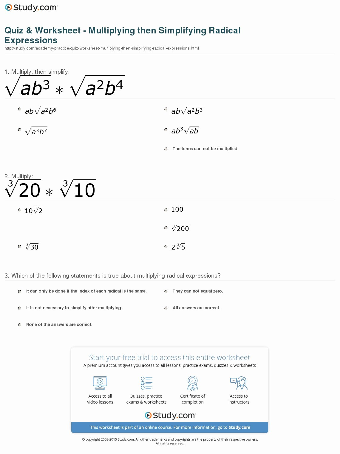 Simplifying Algebraic Expressions Worksheet Answers Unique Quiz & Worksheet Multiplying then Simplifying Radical