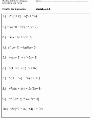Simplifying Algebraic Expressions Worksheet Awesome 12 Best Of 6th Grade Bining Like Terms Worksheet