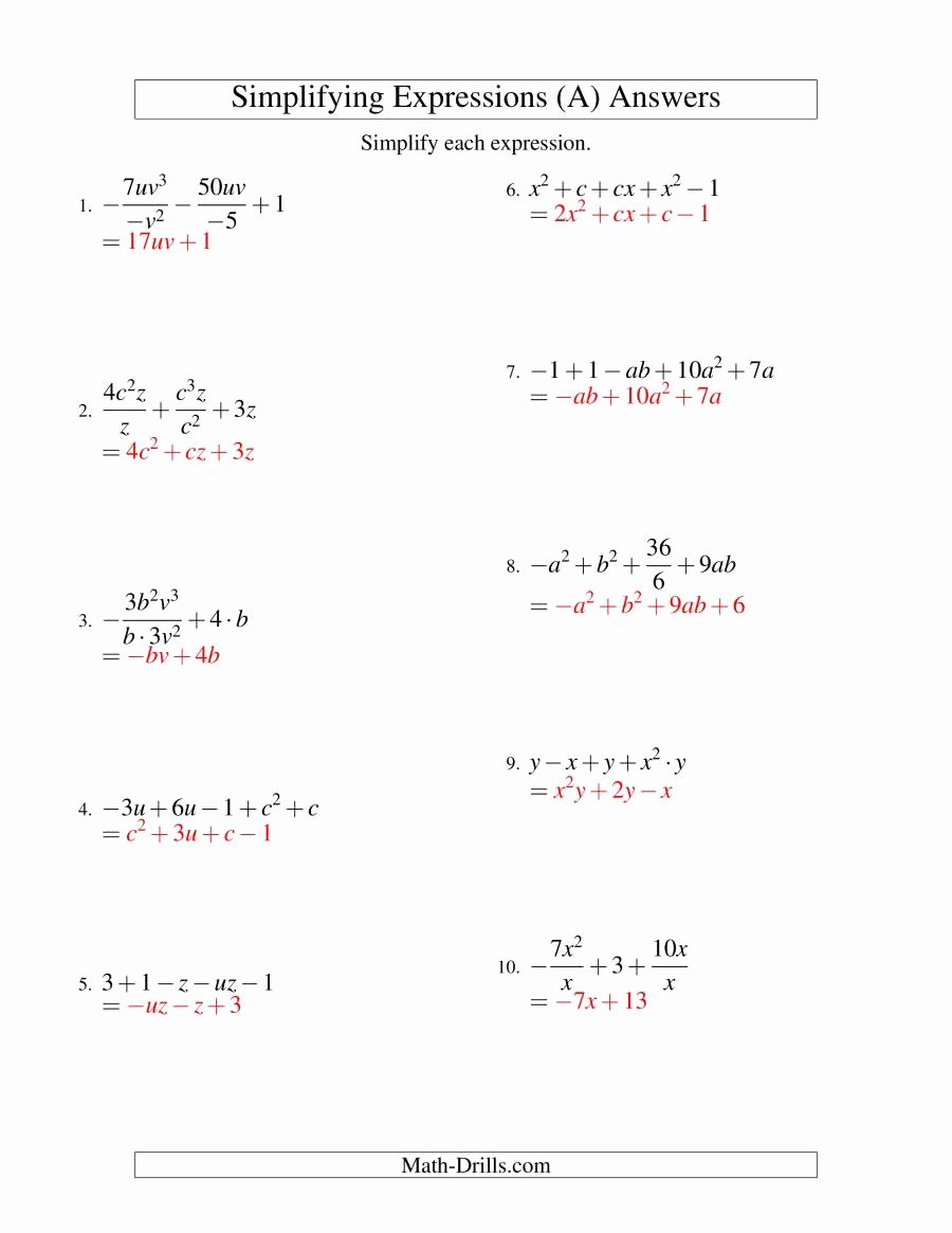 Simplifying Algebraic Expressions Worksheet Awesome Simplifying Algebraic Expressions with Two Variables and