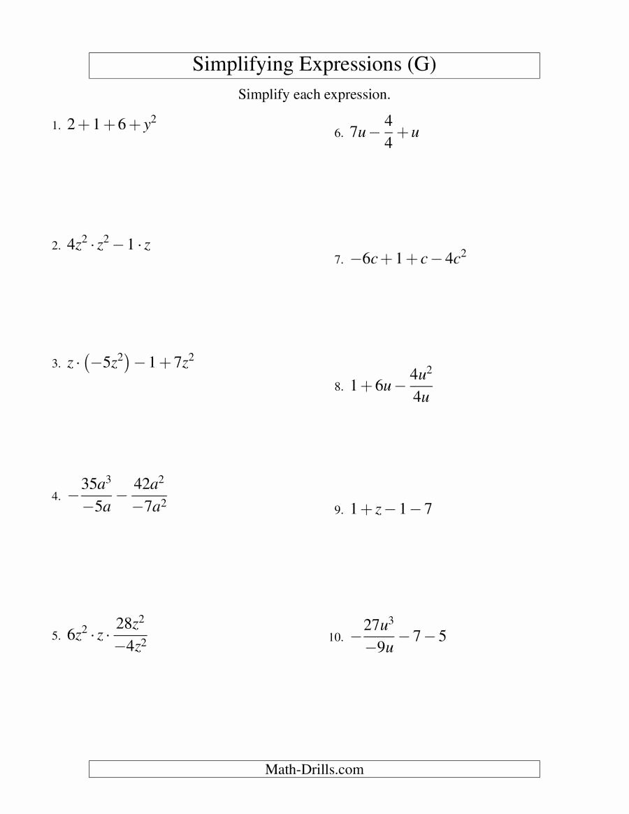 Simplifying Algebraic Expressions Worksheet Beautiful Simplifying Algebraic Expressions with E Variable and