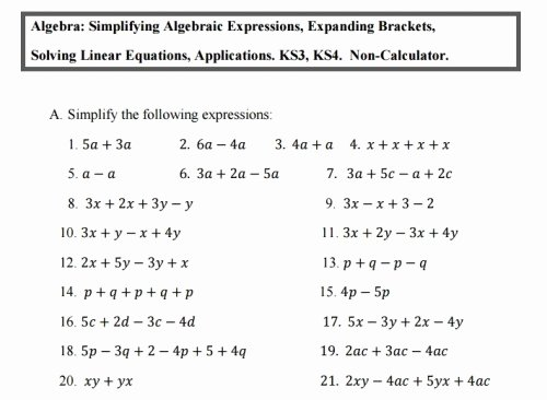 Simplifying Algebraic Expressions Worksheet Best Of 10 the Best Algebra Worksheets for Ks3