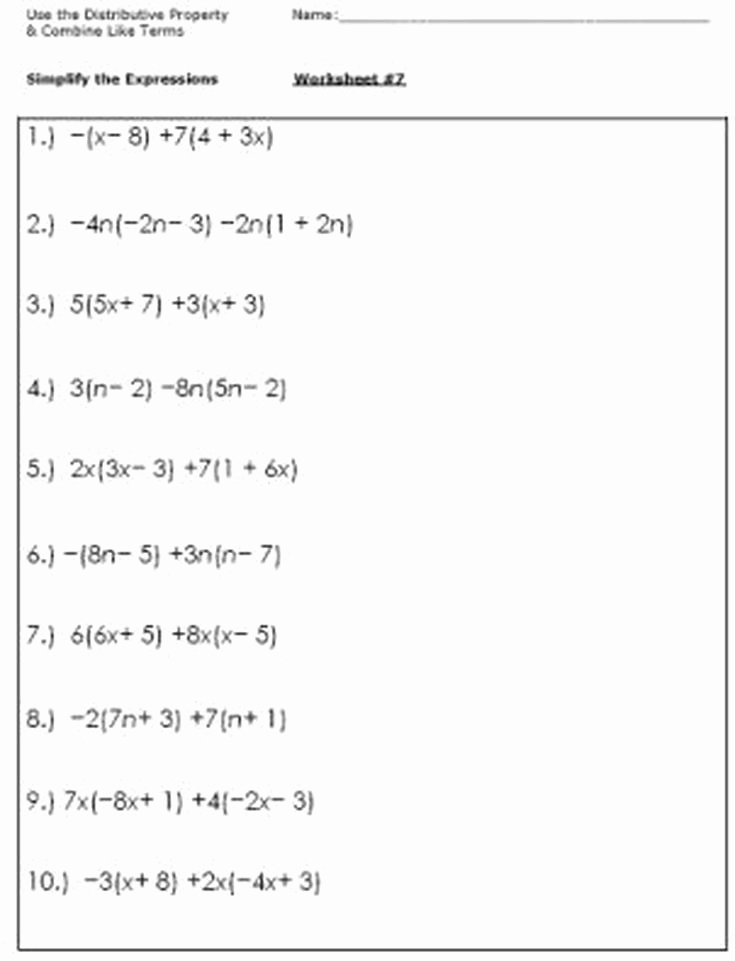 Simplifying Algebraic Expressions Worksheet Elegant Algebra Worksheets for Simplifying the Equation