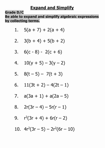 Simplifying Algebraic Expressions Worksheet Fresh Expand and Simplify Algebraic Expressions by Tajhussain