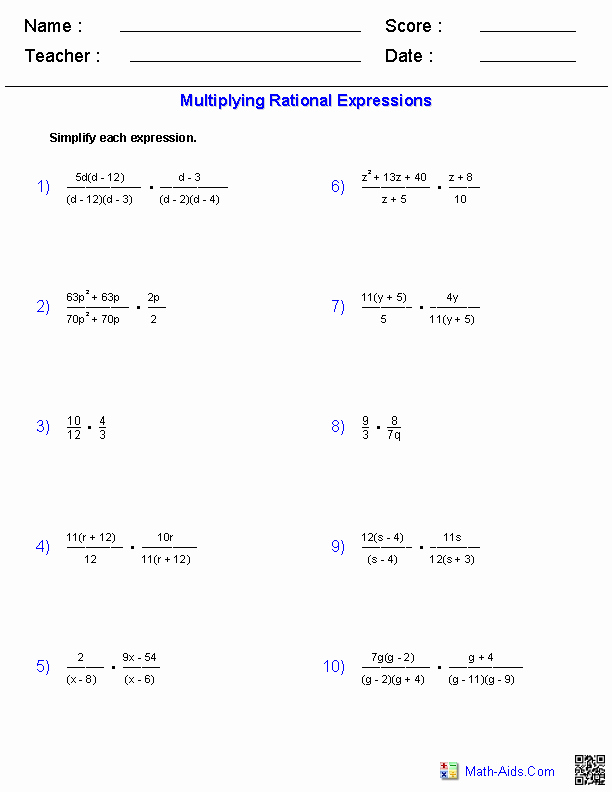 Simplifying Algebraic Expressions Worksheet Fresh Multiplying Rational Expressions Worksheets